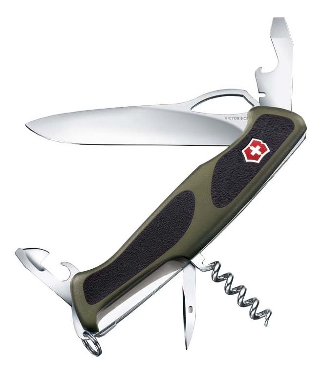 Нож перочинный Rangergrip 61 130мм 11 функций с фиксатором лезвия (зеленый с черным) фото