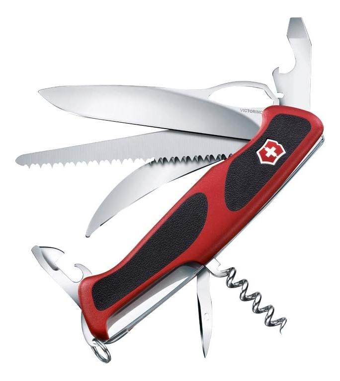 Купить Нож перочинный Rangergrip 57 Hunter 130мм 13 функций с фиксатором лезвия (красный с черным), Victorinox
