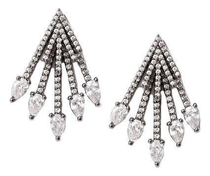 Серьги-джекеты черненые с кристаллами