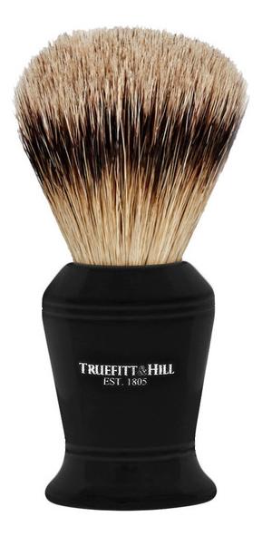 Помазок Faux Ebony Super Badger Shave Brush Carlton (ворс серебристого барсука, эбонит с серебром, 10см)