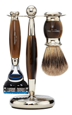 Truefitt & Hill Набор Edwardian Faux Horn: Badger Brush Fusion Razor Stand (кисть для бритья + станок Fusion + подставка) рог