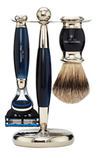 Truefitt & Hill Набор Edwardian Faux Blue Opal: Badger Brush Fusion Razor Stand (кисть для бритья + станок Fusion + подставка) синий опал