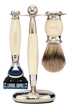 Truefitt & Hill Набор Edwardian Faux Ivory: Badger Brush Fusion Razor Stand (кисть для бритья + станок Fusion + подставка) цвет слоновая кость