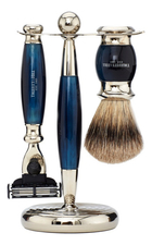Truefitt & Hill Набор Edwardian Faux Blue Opal: Badger Brush Mach III Razor Stand (кисть для бритья + станок Mach III + подставка) синий опал