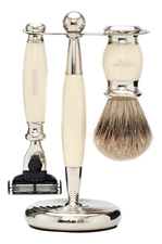 Truefitt & Hill Набор Edwardian Faux Ivory: Badger Brush Mach III Razor Stand (кисть для бритья + станок Mach III + подставка) слоновая кость