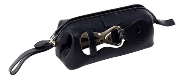 Кожаный нессесер с предметами для чистки обуви Black Small Leather Case Shoe (3 щетки + 2 крема 1 стальной рожок салфетка) черный