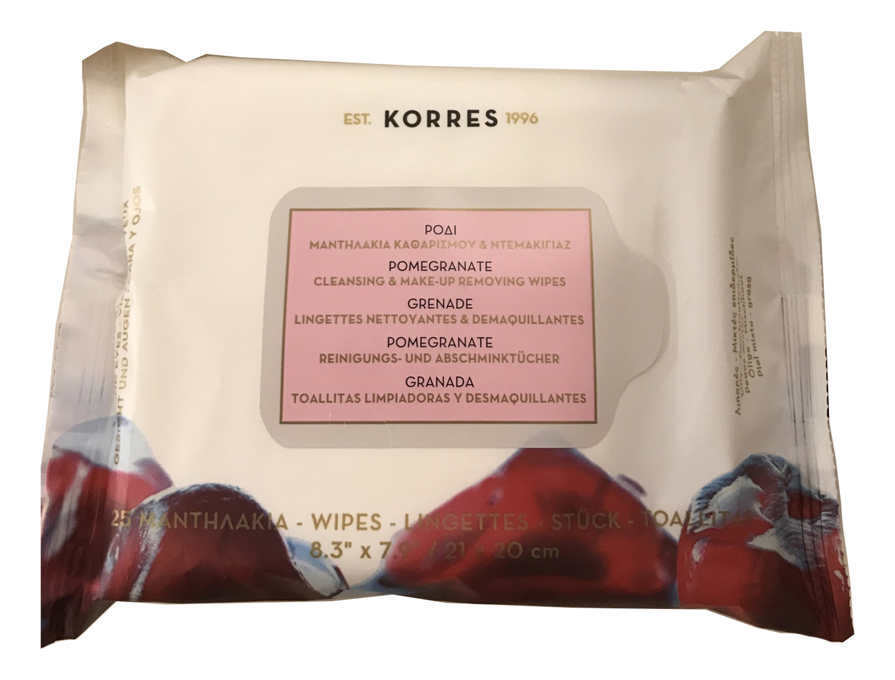 Салфетки для снятия макияжа с экстрактом граната Pomegranate Cleansing & Make Up Removing Wipes 25шт средство для снятия макияжа korres korres ko003lwaoe17