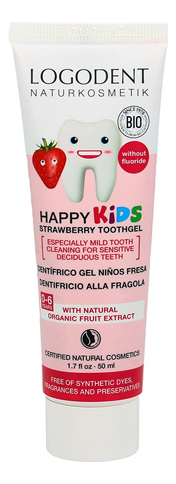 Детский зубной гель Kids Dental Gel Strawberry 50мл (клубника) фото