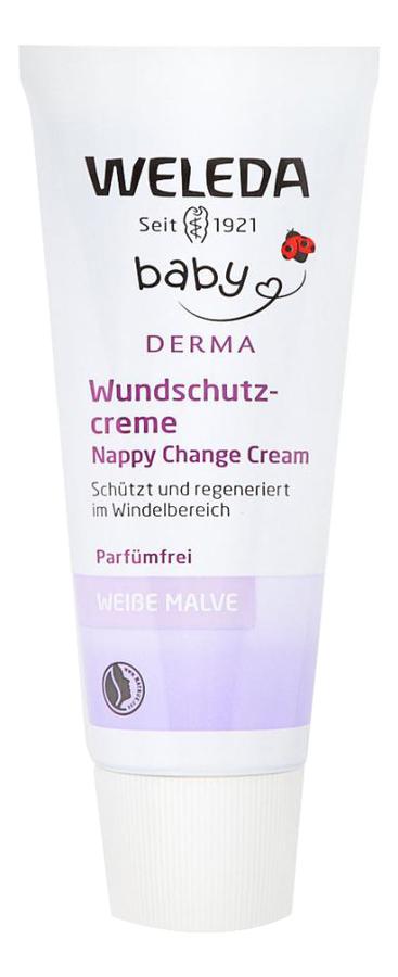 Купить Крем детский для гиперчувствительной кожи в области пеленания Baby Derma White Mallow Nappy Change Cream 50мл, Weleda
