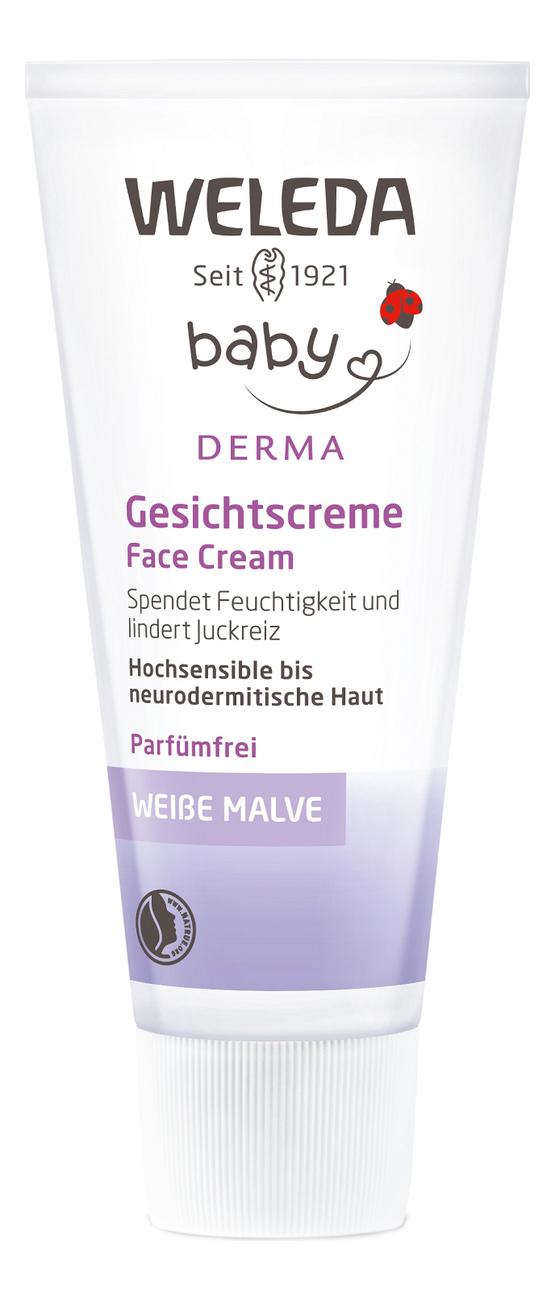 Купить Крем детский для гиперчувствительной кожи лица Baby Derma White Mallow Face Cream 50мл, Weleda