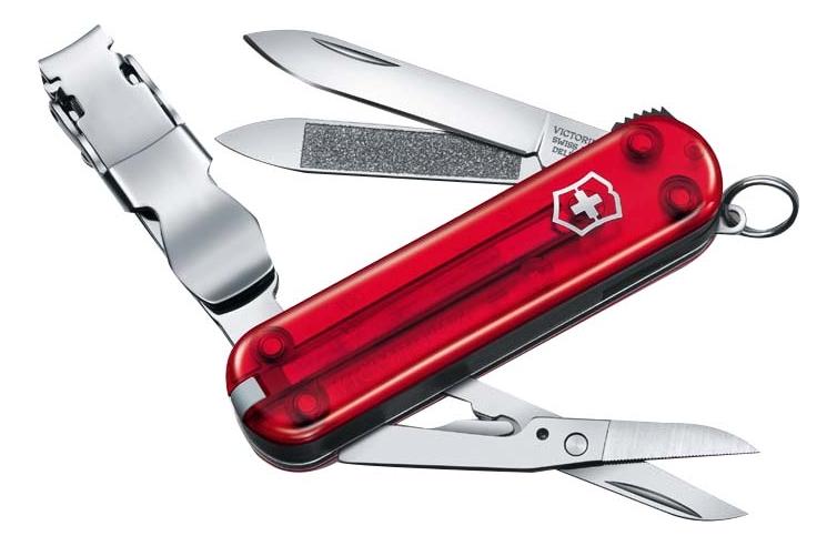 Нож-брелок Nailclip 65мм 8 функций (полупрозрачный красный)