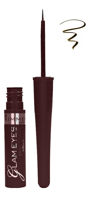 Купить Жидкая подводка для глаз Glam'eyes Professional Liquid Liner 3, 5мл: 02 Velvet Brown, Rimmel
