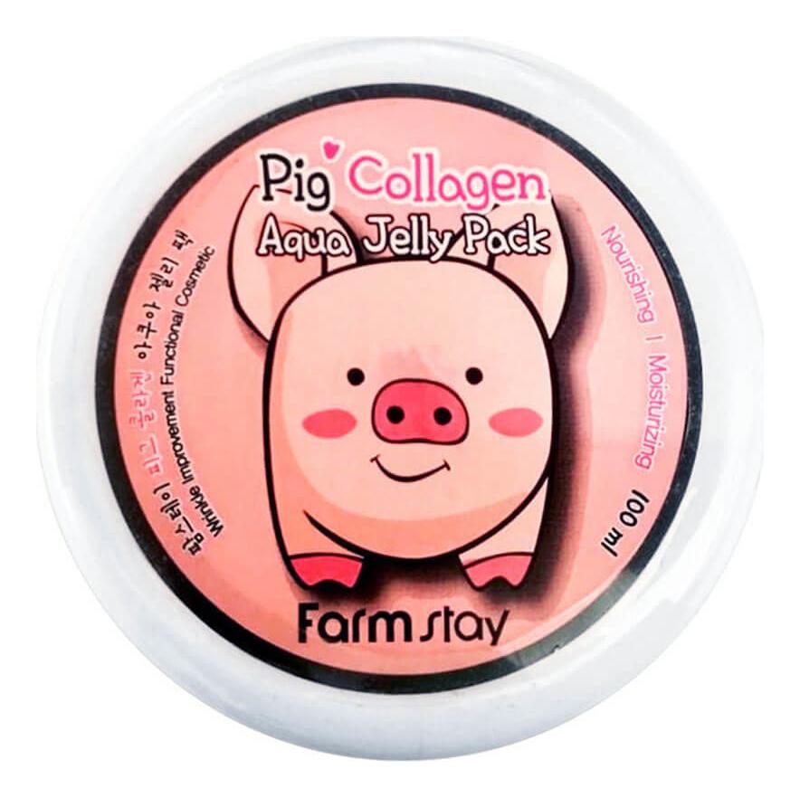 Увлажняющая маска-желе для лица со свиным коллагеном Collagen Aqua Piggy Jelly Pack 100мл green piggy collagen