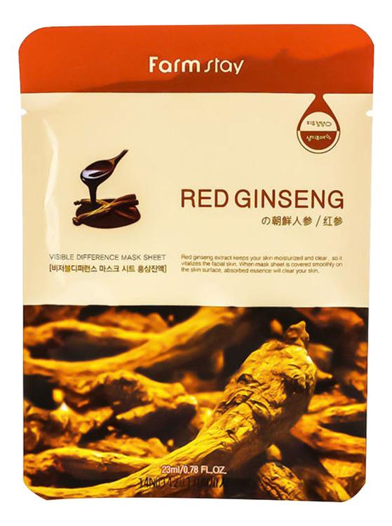 Фото - Тканевая маска для лица с экстрактом корня красного женьшеня Visible Difference Mask Sheet Red Ginseng 23мл: Маска 1шт маска на тканевой основе для лица с экстрактом красного женьшеня milatte fashiony ginseng mask sheet