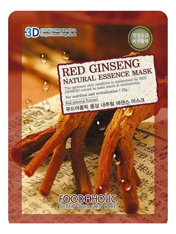 Купить Тканевая 3D маска с экстрактом красного женьшеня Red Ginseng Natural Essence 3D Mask 23г, FoodaHolic