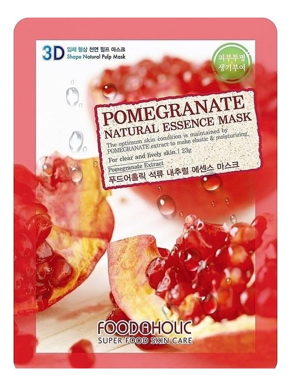 Купить Тканевая 3D маска с экстрактом граната Pomegranate Natural Essence 3D Mask 23г, FoodaHolic