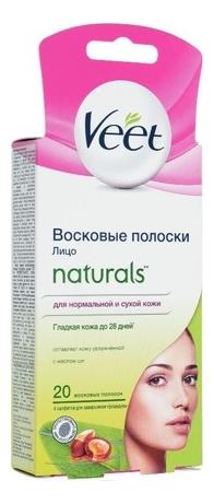 цена на Восковые полоски для лица и чувствительных участков тела Naturals 20шт (масло Ши)