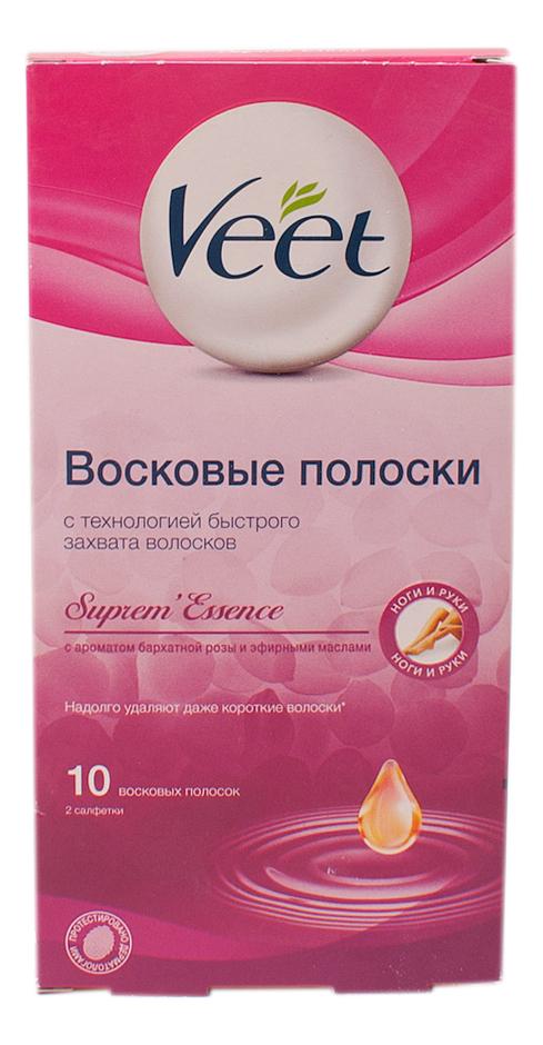 цена на Восковые полоски для чувствительных участков тела 10шт (бархатная роза и эфирные масла)