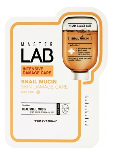 Фото - Тканевая маска для лица с экстрактом улиточного муцина Master Lab Snail Mucin Mask 19г tony moly тканевая маска master lab snail mucin 19 г