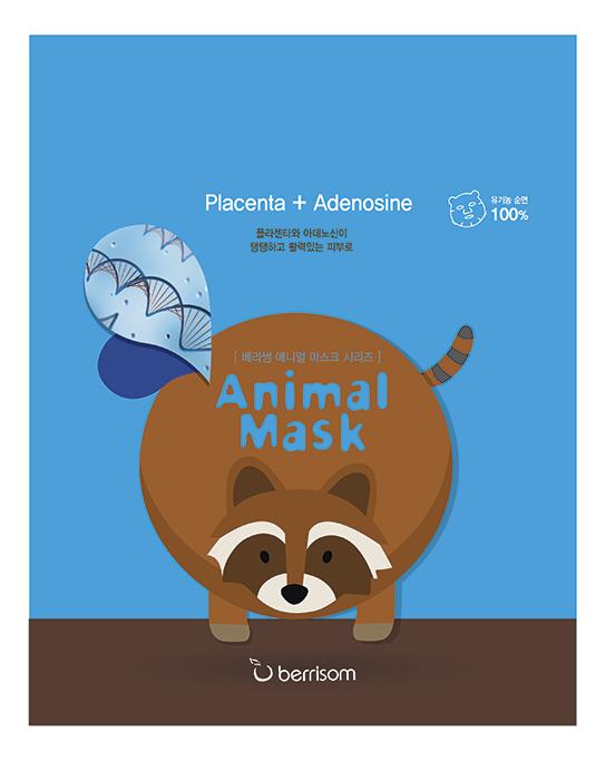 Маска тканевая с экстрактом плаценты Animal Mask Series Raccoon 25мл