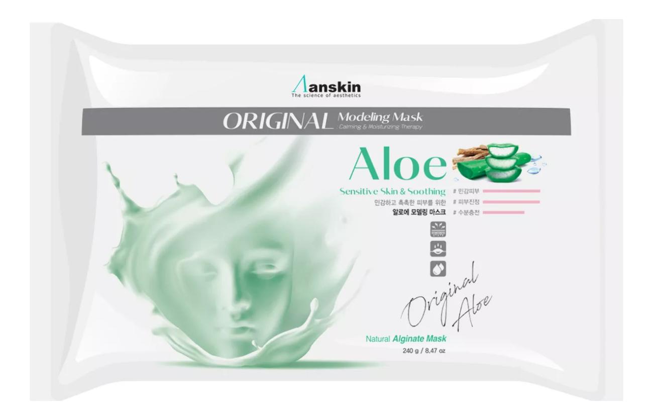Фото - Маска альгинатная с экстрактом алоэ Aloe Modeling Mask Refill 240г: Маска 240г (запасной блок) маска альгинатная осветляющая саше anskin snow white modeling mask refill 25гр