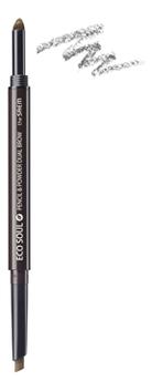 Купить Карандаш-пудра для бровей Eco Soul Pencil & Powder Dual Brow 1, 5г: 03 Black Gray, Карандаш-пудра для бровей Eco Soul Pencil & Powder Dual Brow 1, 5г, The Saem