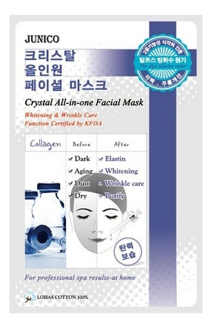 Маска тканевая c коллагеном Junico Crystal All-In-One Facial Mask Collagen 25г маска тканевая для лица mijin cosmetics junico crystal all in one facial mask snail 25 г
