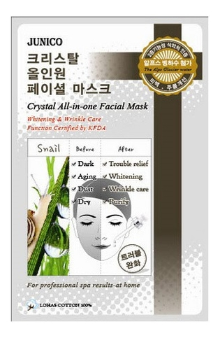 Маска тканевая с улиточным муцином Junico Crystal All-In-One Facial Mask Snail 25г маска тканевая для лица mijin cosmetics junico crystal all in one facial mask snail 25 г