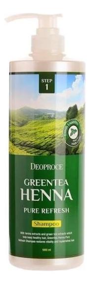 Купить Шампунь для волос с зеленым чаем и хной Greentea Henna Pure Refresh Shampoo: Шампунь 1000мл, Deoproce