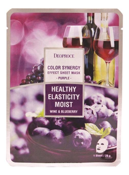 Тканевая маска для лица на основе черники и красного винограда Color Synergy Effect Sheet Mask Purple 20г маска deoproce color synergy effect sheet mask yellow green