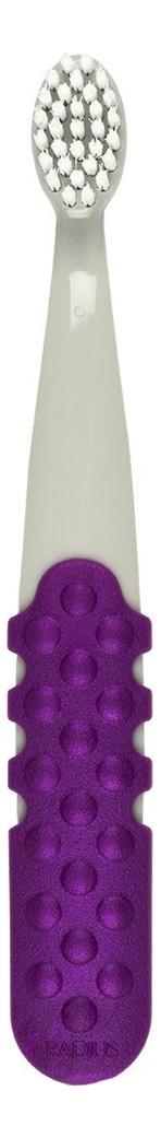 Зубная щетка детская 3+ Totz Plus Toothbrush (серебристо-фиолетовая ручка, очень мягкая, для правшей) radius toothbrush original зубная щетка мягкая классическая для левшей фиолетовая