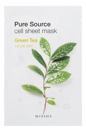 Купить Маска для лица листовая с зеленым чаем Pure Source Cell Sheet Mask Green Tea 21г, Missha
