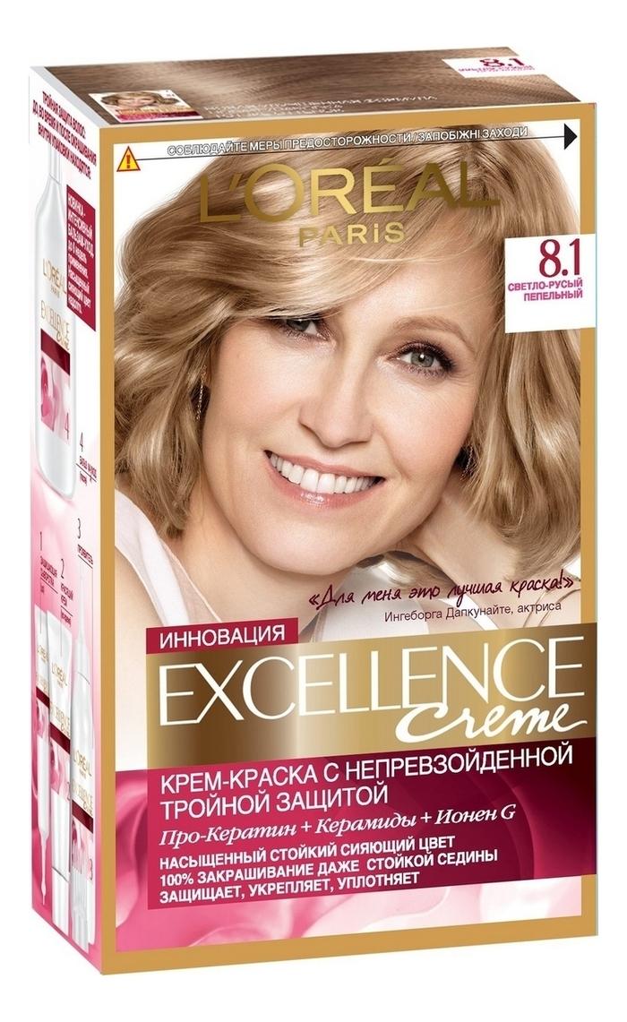 Крем-краска для волос Excellence Creme 192мл: 8.1 Светло-русый пепельный loreal excellence краска для волос тон 7 1 русый пепельный