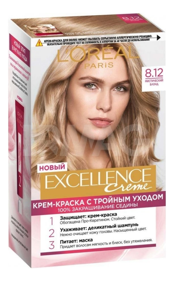Купить Крем-краска для волос Excellence Creme 192мл: 8.12 Мистический блонд, L'oreal