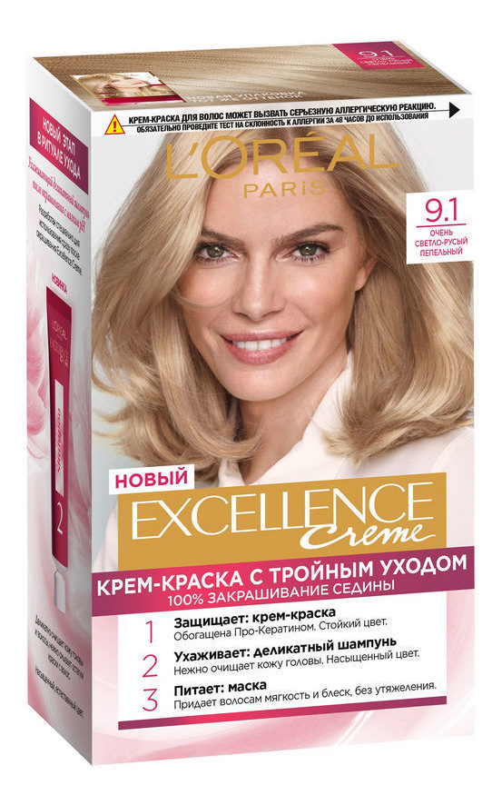 Крем-краска для волос Excellence Creme 192мл: 9.1 Очень светло-русый пепельный крем excellence