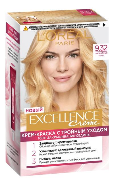 Крем-краска для волос Excellence Creme 192мл: 9.32 Сенсационный блонд крем excellence